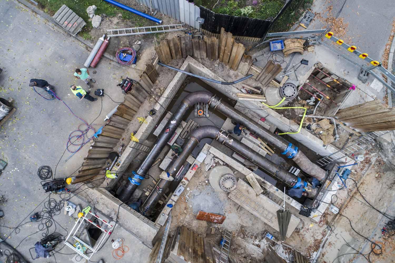 Drohnenfoto Baudokumentation Luftaufnahme Rohrleitungsbau